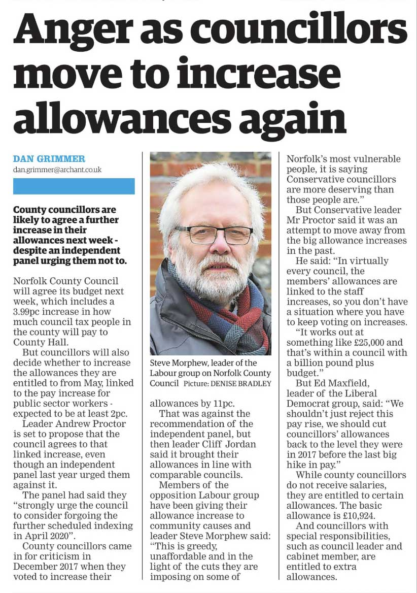 EDP Clipping on more Tory Councillor Allowance increases
