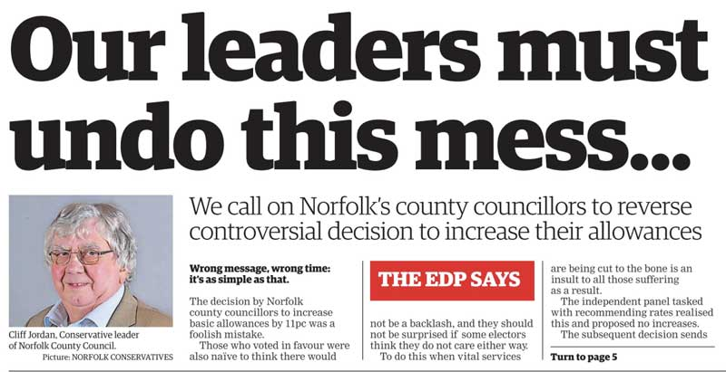 EDP Clipping 2018 Opinion Against Tory Councillor Allowances Increases