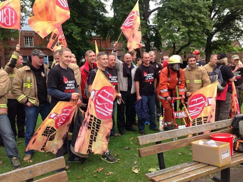 Fire Brigades Union (FBU) Campaigning in Chapelfield Gardens Norwich