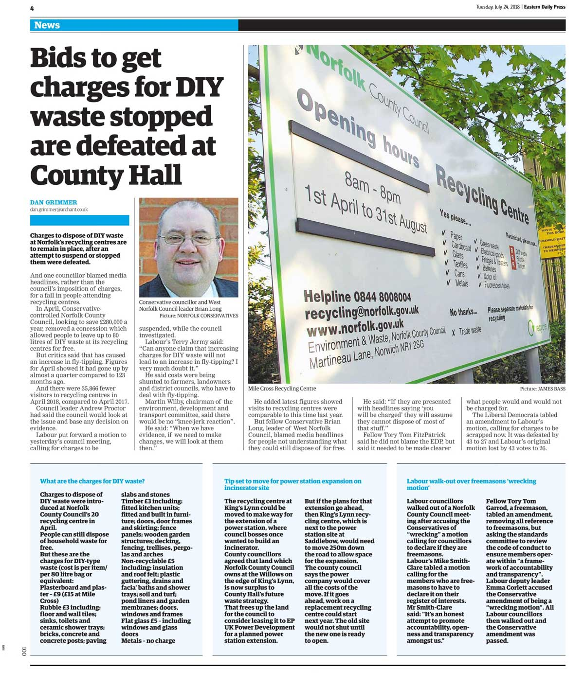 EDP clipping July 2018 on DIY Waste Charges