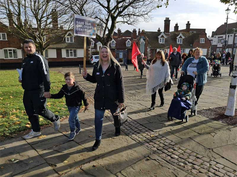 A Save Our Children's Centre March in Great Yarmouth