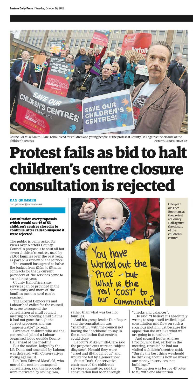 EDP Clipping October 2018 Children's Centre Closure Protests