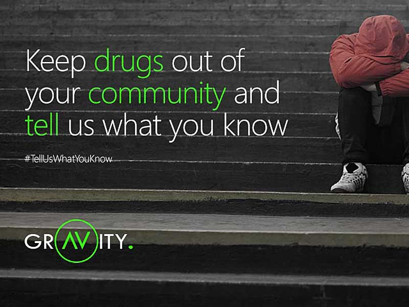 Operation Gravity Poster Keep drugs out of your community and tell us what you know