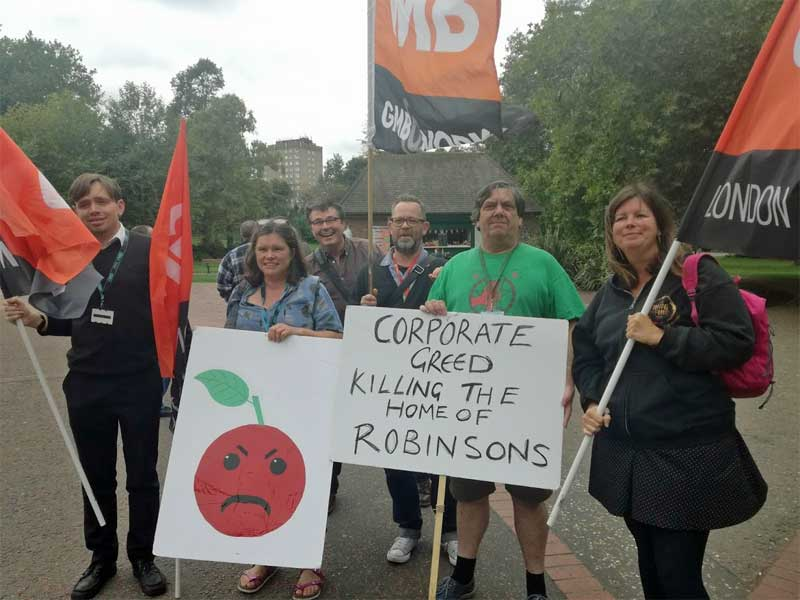 Councillors and activists at a Save Colman Factory Campaign in September 2018